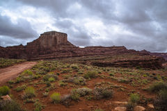 Hurrah Pass Trail Moab Utah. Dark Dramatic clouds and beautiful views from the Hurrah Pass Trail Royalty Free Stock Image