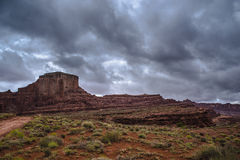 Hurrah Pass Trail Moab Utah. Dark Dramatic clouds and beautiful views from the Hurrah Pass Trail Stock Image