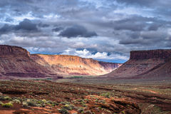 Hurrah Pass Trail Moab Utah. Dark Dramatic clouds and beautiful views from the Hurrah Pass Trail Royalty Free Stock Photography