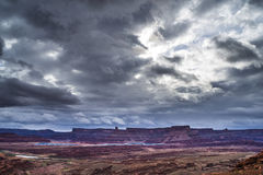 Hurrah Pass Trail Moab Utah. Dark Dramatic clouds and beautiful views from the Hurrah Pass Trail Royalty Free Stock Photo