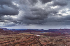 Hurrah Pass Trail Moab Utah. Dark Dramatic clouds and beautiful views from the Hurrah Pass Trail Stock Images