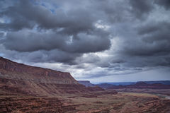 Hurrah Pass Trail Moab Utah. Dark Dramatic clouds and beautiful views from the Hurrah Pass Trail Stock Photo
