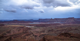 Hurrah Pass Trail Moab Utah. Dark Dramatic clouds and beautiful views from the Hurrah Pass Trail Stock Photography