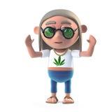 hurrar den Hippy rökaren för tjack 3d vektor illustrationer