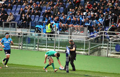 Hurray try. Robbie henshaw is doing a try in the rugby match italy vs ireland at rome.7/2/2015 Stock Image