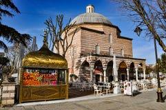 Hurrem苏丹浴,当前现代编织的画廊和水果食物,伊斯坦布尔,土耳其 免版税库存图片