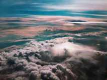 Hurricane. Awesome view from the plane on the dark stormy clouds royalty free stock photos