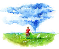 Hurricane. Forces of nature. Little boy with dog looking to the sky Stock Photos