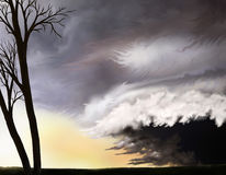Hurricane. A digital painting of a violent sky as a hurricane approaches the land Royalty Free Stock Photo