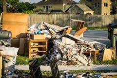 Hurricane Aftermath. Trash and debris inside of Houston homes devastated after Hurricane Harvey royalty free stock image