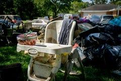 Hurricane Aftermath. Trash and debris inside of Houston homes devastated after Hurricane Harvey stock photos