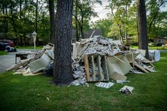 Hurricane Aftermath. Trash and debris outside of Houston homes devastated after Hurricane Harvey stock image