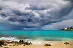 Hurricane Approaches Caribbean. Powerful Hurricane Approaches Caribbean Island Royalty Free Stock Photography