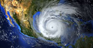 Hurricane approaching the American continent visible above the Earth, a view from the satellite. Elements of this image furnished