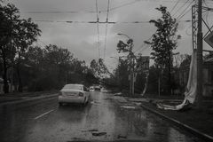 Hurricane in the city of Taganrog, Rostov region, Russian Federation September 24, 2014. Storm in the city of Taganrog, Rostov region, Russian Federation royalty free stock photos