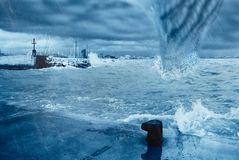 Hurricane on the Coast. A hurricane hits the dock Stock Photography