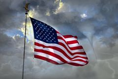 Hurricane Cyclone on usa town flag star and stripes. Hurricane Cyclone tempest in usa town flag royalty free stock photos
