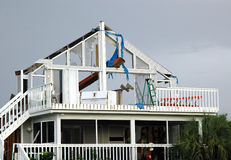 Hurricane Damage. A hurricane damaged home on a south Florida island stock images