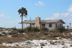 Hurricane damaged house. The Florida panhandle has been hit with many hurricanes, including Ivan (2004) and Dennis (2005).  Several years later, some houses have Royalty Free Stock Photo