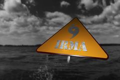 Hurricane Danger Sign and Storm In The Background 3D Rendering Royalty Free Stock Photos