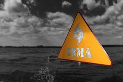 Hurricane Danger Sign and Storm In The Background 3D Rendering Stock Photos
