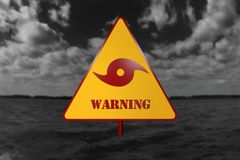 Hurricane Danger Sign and Storm In The Background 3D Rendering Stock Photography