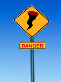 Hurricane danger warning  sign Royalty Free Stock Images