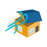 Hurricane destroyed house icon Stock Image