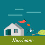 Hurricane Destroying House and Killing Man Royalty Free Stock Image