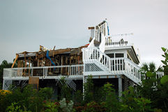 Hurricane Destruction. A hurricane damaged stilt home on a south Florida island royalty free stock photos