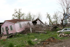 Hurricane Destruction. House split open by hurricane Katrina royalty free stock image