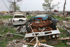 Hurricane Destruction. Cars destroyed by hurricane Katrina Royalty Free Stock Images