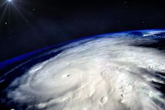 Hurricane on Earth. Hurricane typhoon over planet Earth viewed from space. Elements of image are furnished by NASA royalty free stock photography
