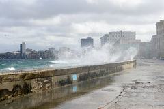 Hurricane at El Malecon in Havana. On Cuba Stock Image
