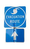 Hurricane Evacuation Route. Isolated hurricane evacuation route sign.  Clipping path included Royalty Free Stock Photography