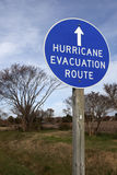 Hurricane Evacuation Route. Blue round sign Royalty Free Stock Photo