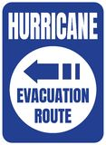 Hurricane Evacuation Route Road Sign Blue Square vector illustration