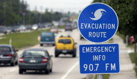 Hurricane evacuation sign Stock Image