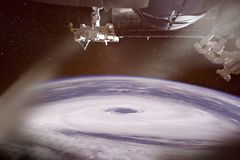 Hurricane eye, seen from the International Space Station, collage. stock images