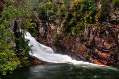 Hurricane Falls located in the Tallulah Gorge near Clayton Georgia. Stock Photo