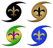 Hurricane Fleur de Lis Symbols. These icons with a fleur de lis superimposed on a hurricane symbol have come to be recognized as a symbol of New Orleans