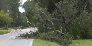 Hurricane Florence damage to power lines in Wagram North Carolin. Wagram, North Carolina, United States/September 18, 2018: Power line that went down during Royalty Free Stock Photography