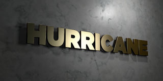 Hurricane - Gold sign mounted on glossy marble wall  - 3D rendered royalty free stock illustration Royalty Free Stock Photography