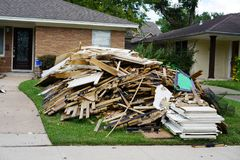 Hurricane Harvey Impacts - Aftermath. House contents removed to prevent mold buildup after flood Stock Photography
