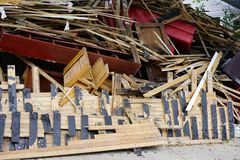 Hurricane Harvey Impacts - Aftermath. House contents removed to prevent mold buildup after flood Stock Image
