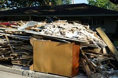 Hurricane Harvey Impacts - Aftermath. House contents removed to prevent mold buildup after flood Stock Photos
