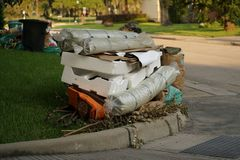 Hurricane Harvey Impacts - Aftermath. House contents removed to prevent mold buildup after flood Royalty Free Stock Photo