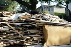 Hurricane Harvey Impacts - Aftermath. House contents removed to prevent mold buildup after flood Stock Photo
