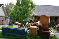 Hurricane Harvey Impacts - Aftermath. House contents removed to prevent mold buildup after flood Royalty Free Stock Images