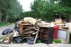 Hurricane Harvey Impacts - Aftermath. House contents removed to prevent mold buildup after flood Royalty Free Stock Image
